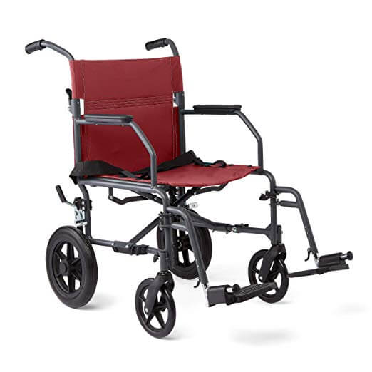 Medline Transport Wheelchair with Lightweight Steel Frame, Microban Antimicrobial Protection, Folding Chair is Portable, Large 12 inch Back Wheels, 19 inch Wide Seat, Red
